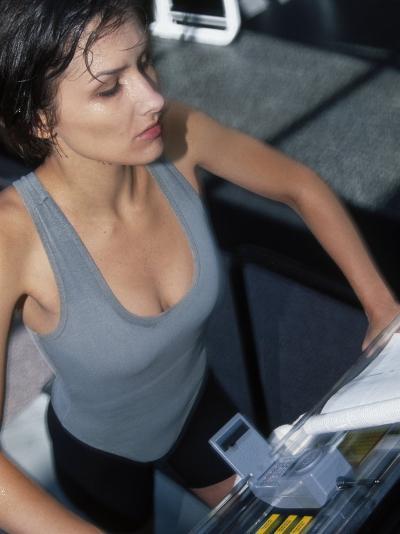 Woman on Treadmill on Gym--Photographic Print
