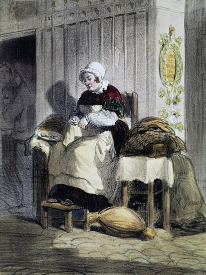 Woman Opening Oysters (Ecailliere), Print from the Women of Paris Series, France, 19th Century--Giclee Print