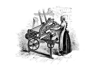 Woman Operating a Power Loom for Weaving Cotton, C1840--Giclee Print