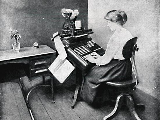 'Woman Operator on Monotype Keyboard', 1917-Unknown-Photographic Print