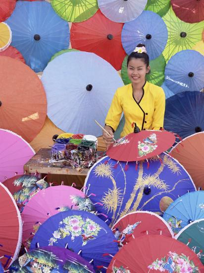 Woman Painting Umbrellas, Northern Thailand, Thailand-Gavin Hellier-Photographic Print