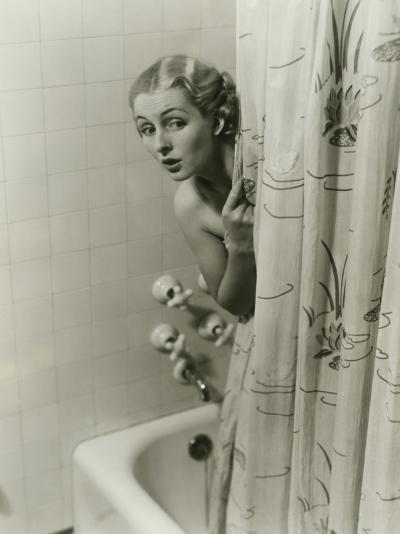 Woman Peeking From Behind Shower Curtain-George Marks-Photographic Print