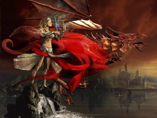Woman Playing a Magical Violin to Call Out a Red Dragon-Stocktrek Images-Art Print