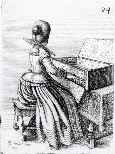Woman Playing at a Keyboard, 1635-Wenceslaus Hollar-Giclee Print