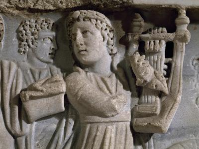 Woman Playing Harp, Detail from Sarcophagus, Early Christian Period--Giclee Print