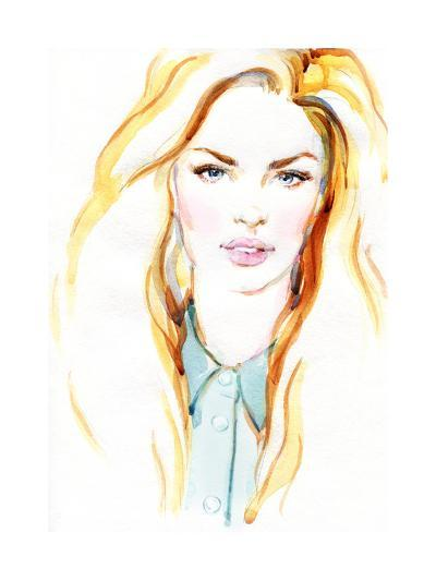 Woman Portrait .Abstract Watercolor .Fashion Background-Anna Ismagilova-Art Print