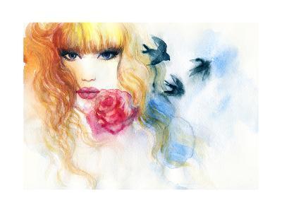 Woman Portrait .Abstract Watercolor .Fashion Background-Anna Ismagilova-Art Print