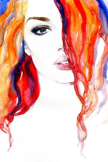 Woman Portrait .Abstract Watercolor .Fashion Background-Anna Ismagilova-Photographic Print