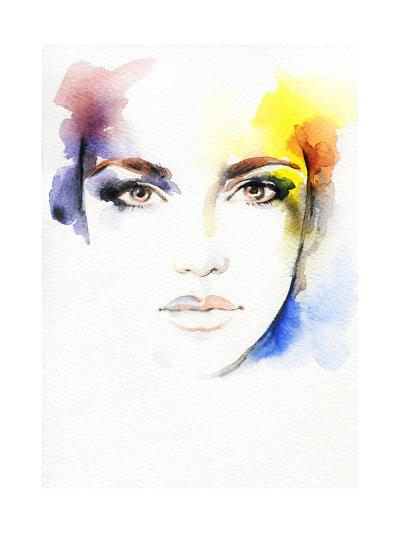 Woman Portrait .Abstract Watercolor-Anna Ismagilova-Art Print
