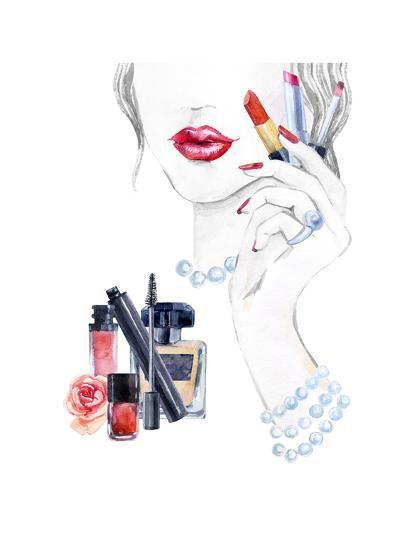 Woman Portrait with Lipstick-tanycya-Art Print