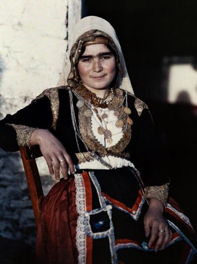 Woman Poses in the National Costume of Crete-Maynard Owen Williams-Photographic Print