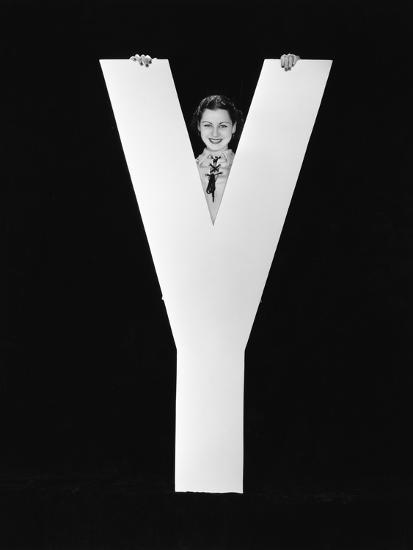 Woman Posing behind Huge Letter Y-Everett Collection-Photographic Print