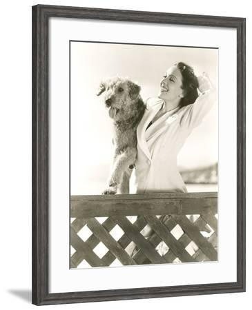 Woman Posing with Her Airedale at the Beach--Framed Photo