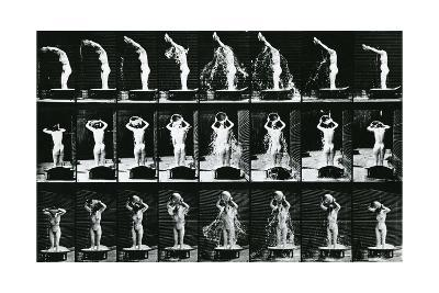 Woman Pouring a Basin of Water over Her Head, Illustration from 'The Human -Eadweard Muybridge-Photographic Print