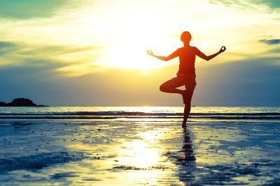 Woman Practicing Yoga On The Beach At Sunset-De Visu-Art Print