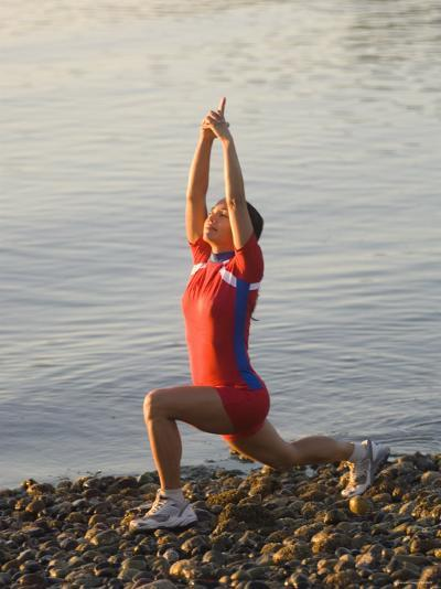 Woman Practicing Yoga on the Riverside, Bainbridge Island, Washington State, USA--Photographic Print