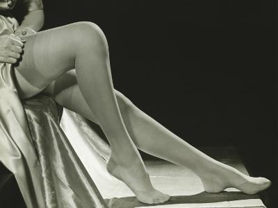 Woman Pulling on Stockings, Low Section-George Marks-Photographic Print