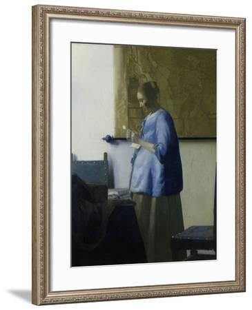 Woman Reading a Letter-Johannes Vermeer-Framed Art Print