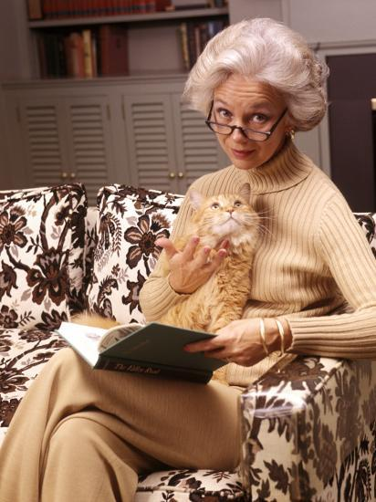 Woman Reading Book, Holding Orange Tabby Cat-H^ Armstrong Roberts-Photographic Print