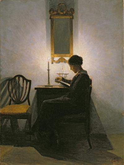Woman Reading by Candlelight, 1908-Peter Vilhelm Ilsted-Giclee Print
