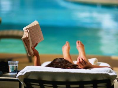 Woman Reading by Hotel Swimming Pool, Las Vegas, Nevada, USA-Ray Laskowitz-Photographic Print
