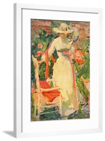 Woman Reading in the Garden, C.1920--Framed Giclee Print
