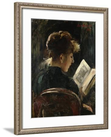 Woman Reading; Lesendes Madchen, 1888-Lovis Corinth-Framed Giclee Print