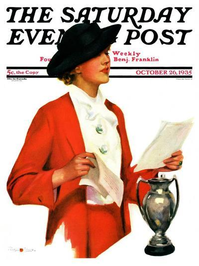 """""""Woman Reading Letter,"""" Saturday Evening Post Cover, October 26, 1935-Penrhyn Stanlaws-Giclee Print"""