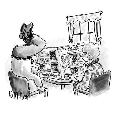 Woman reads N.Y. Times at table as husband stands on head to read the upsi? - New Yorker Cartoon-Warren Miller-Premium Giclee Print
