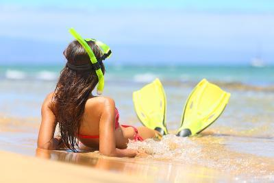 Woman Relaxing on Summer Beach Vacation Holidays Lying in Sand with Snorkeling Mask and Fins Smilin-Maridav-Photographic Print
