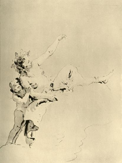 'Woman resting on Clouds and supported by a Cupid', mid 18th century, (1928)-Giovanni Battista Tiepolo-Giclee Print