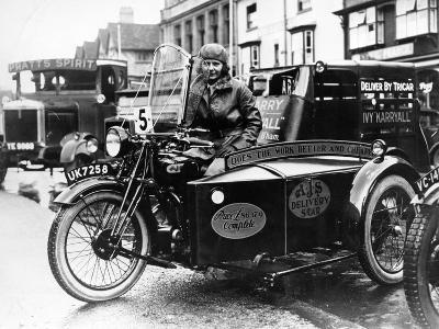 Woman Riding a 1929 500Cc Ajs Motorbike, (C1929)--Photographic Print