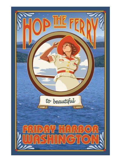 Woman Riding Ferry, Friday Harbor, Washington-Lantern Press-Art Print