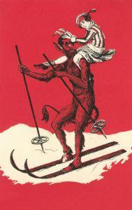 Woman Riding Skiing Devil