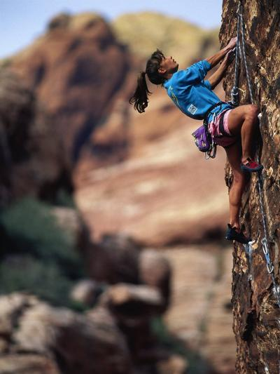 Woman Rock Climbing, CA-Greg Epperson-Photographic Print