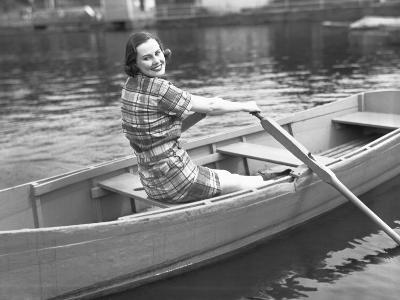 Woman Rowing Boat on Lake-George Marks-Photographic Print