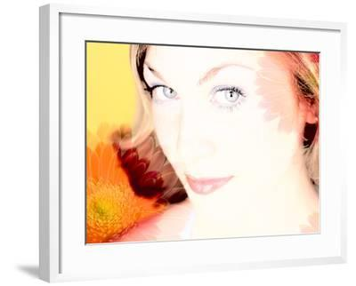Woman's Face Surrounded by Flowers--Framed Photographic Print