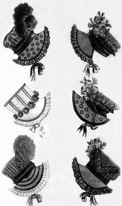 Woman's Fashion in 1815, France : Different Sorts of Hats, Engraving