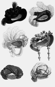 Woman's Fashion in 1822, France : Different Sorts of Hats