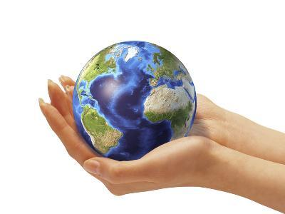 Woman's Hands Holding An Earth Globe-Stocktrek Images-Photographic Print