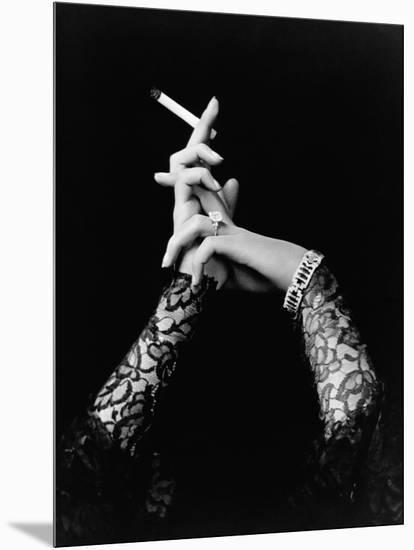 Woman's Hands Holding Cigarette--Mounted Photographic Print