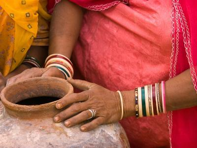 Woman's Hands on a Pottery Jug for Carrying Water, Thar Desert, Jaisalmer, Rajasthan, India-Philip Kramer-Photographic Print
