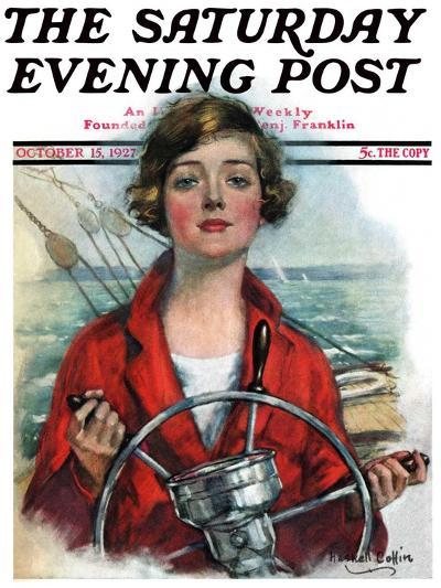"""""""Woman Sailor,"""" Saturday Evening Post Cover, October 15, 1927-William Haskell Coffin-Giclee Print"""