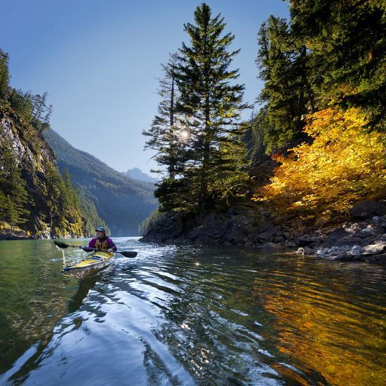 Woman Sea Kayaker on Lake Diablo, North Cascades National Park, Washington, USA-Gary Luhm-Photographic Print