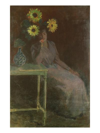 Woman Seated with Sunflowers-Claude Monet-Giclee Print