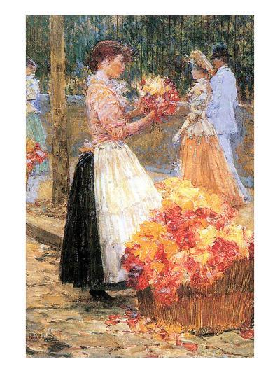Woman Sells Flowers-Childe Hassam-Art Print
