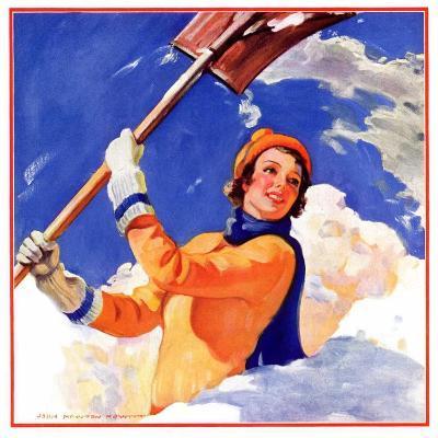 """""""Woman Shoveling Snow,""""February 1, 1935-John Newton Howitt-Giclee Print"""