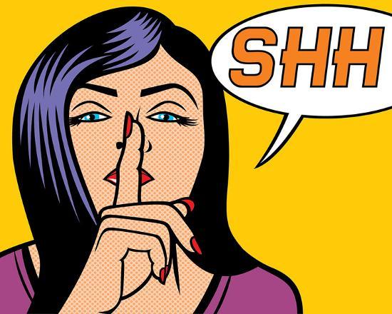 woman-signaling-silence-popart