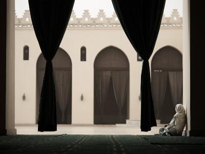 Woman Sitting in the Mosque of Al-Hakim, Cairo, Egypt, North Africa, Africa-Mcconnell Andrew-Photographic Print