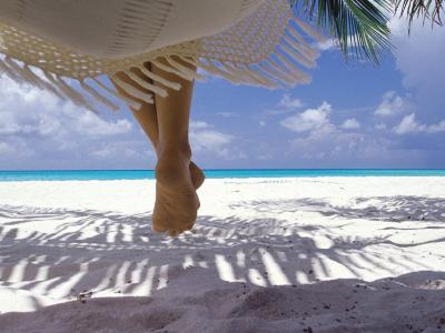 Woman Sitting on a Hammock Overlooking Sea, the Maldives, Indian Ocean, Asia-Sakis Papadopoulos-Photographic Print